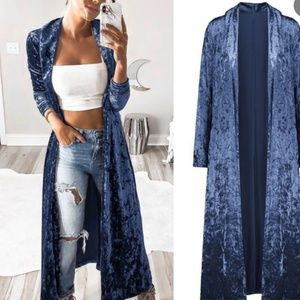 NWT Long crushed velvet duster long cardigan